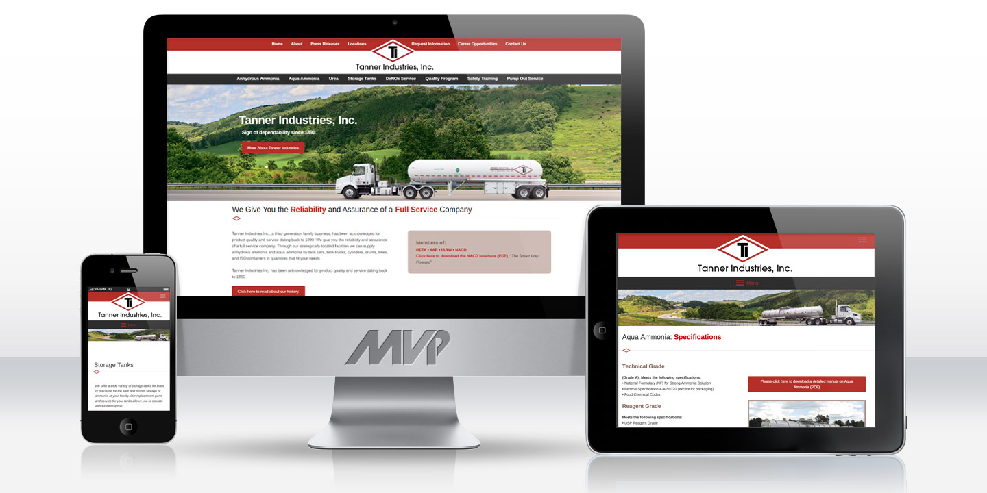 Tanner Industries Responsive Website